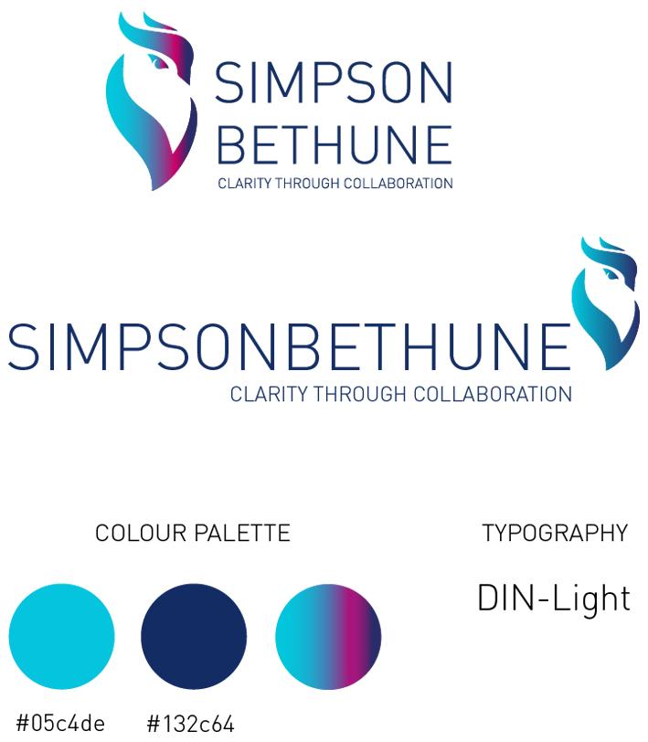 Simpson Bethune brand identity mockup